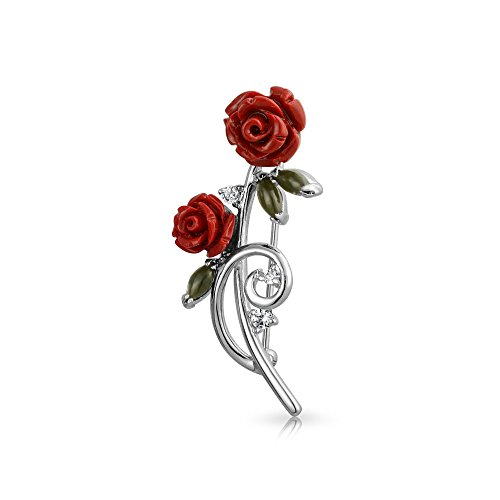 Bling Jewelry Dainty Red Roses Bouquet CZ Accent Brooch Pin for Women Rhodium Plated Brass