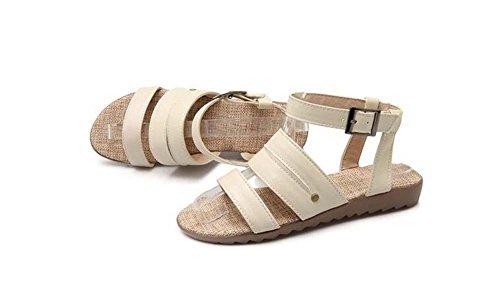 Beauqueen Cool Boots Pumps Mujer Verano Plano Hebilla Pie Anillo Correas Mujer Tobillo Viaje Zapatos Casual Especial Tamaño Europa 34-43 , black , 37 black