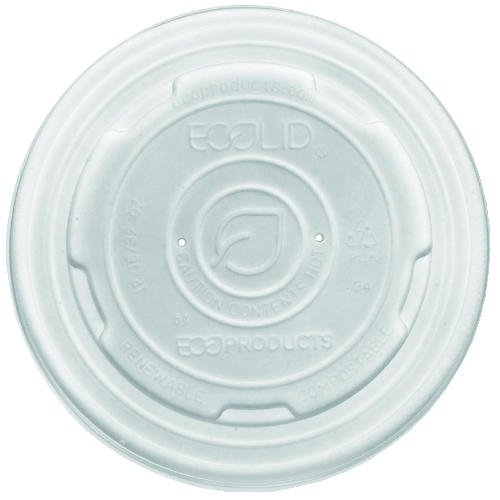 ECPEPECOLIDSPL - ECO-PRODUCTS,INC. World Art Pla-laminated Soup Container Lids, White, 32oz