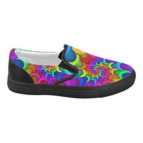 Scarpe Da Ginnastica Slip-on Personalizzate Artsadd Psychedelic Rainbow Spiral Per Le Donne Model019 Multi Color2