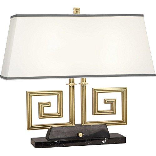 Robert Abbey 441 Jonathan Adler Mykonos - Two Light Table Lamp, Modern Brass/Black Marble Finish with Rectangular Fondine Fabric/Smoke Gray - Table Robert Rectangular Abbey Lamp