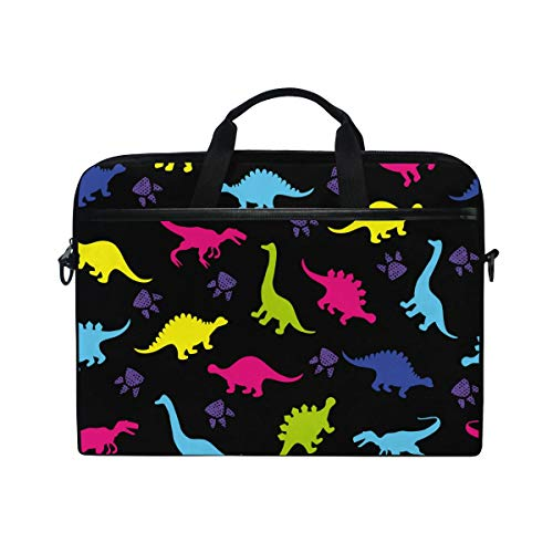BETTKEN Laptop Bag Case Sleeve Animal Paw Print Dinosaur 14-15.4 inch Computer Bag Briefcase Messenger Shoulder Strap Handle for Men Women Kids Boys Girls
