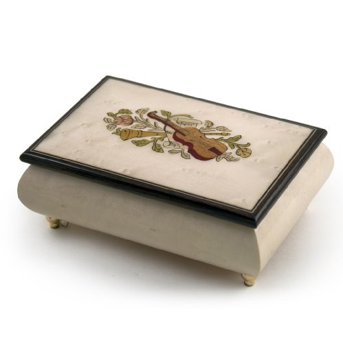 Incredible Ivory Italian Music Box with Violin and Floral Inlay - Torna A Sorrento (Return to Sorrento) Sorrento Italian Inlay