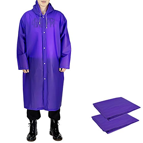 ANTVEE Rain Ponchos 2 Packs for Adults with Drawstring Hood and Sleeves - for Hiking, Backpacking, Camping or Traveling (Purple)]()