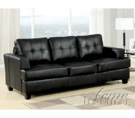 ACME 15061B Platinum Sofa with Sleeper with Black Bonded Leather, Queen
