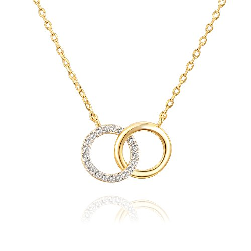 Circle Pendant Necklace Jewelry - PAVOI 14K Yellow Gold Plated Interlocking Circles of Love Necklace Pendant 18