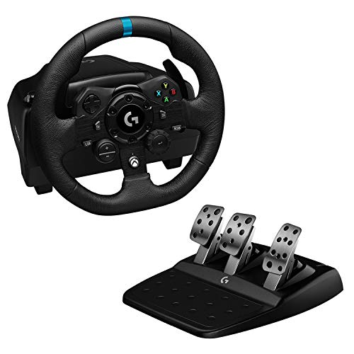Logitech G923 Racing Wheel and Pedals for Xbox One and PC featuring TRUEFORCE up to 1000 Hz Force Feedback, Responsive Pedal, Dual Clutch Launch Control, and Genuine Leather Wheel Cover