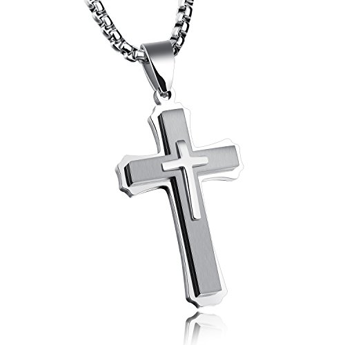 (TEMICO Unique Stainless Steel Cross Pendant Necklace for Men Religious Jewelry Black/Gold/Silver Color)