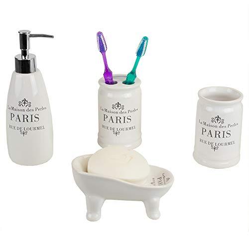 Home Basics French Provincial Paris 4 Piece Bath Bathroom Accessory Set (White) - French Provincial Set