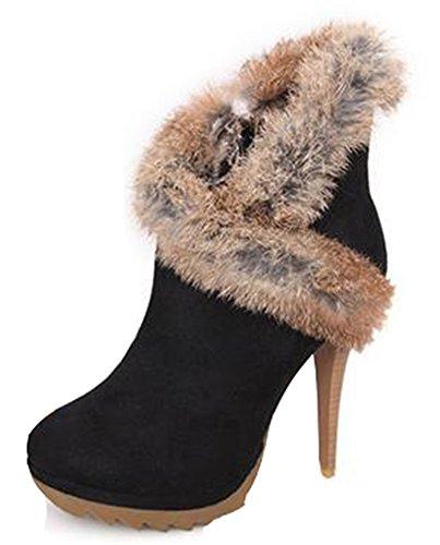IDIFU Women's Sexy Faux Fur Spliced Platform High Heels Stiletto Side Zipper Short Ankle Boots Black 7.5 B(M) US (Platform Fur Faux)