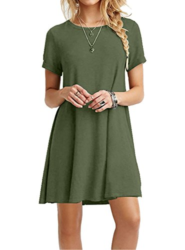 (MOLERANI Women's Casual Plain Short Sleeve Simple T-Shirt Loose Dress Army Green)