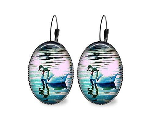 - Swan Love Oval Earrings