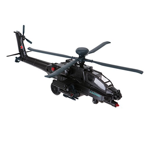 Fityle AH-64D Gunship Helicopter Airplane Model Toy Die-Cast for Kids Birthday Gift