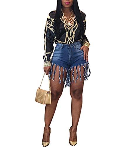- Women Fringed Tassel Denim Shorts Sexy High Waist Frayed Washed Jeans Shorts, XXL