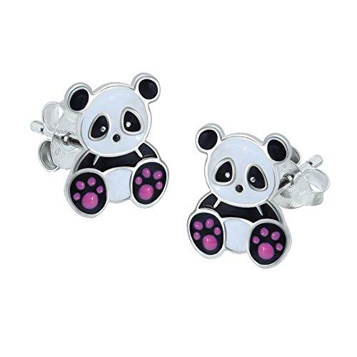 Pendientes de plata de ley, con diseño de oso panda
