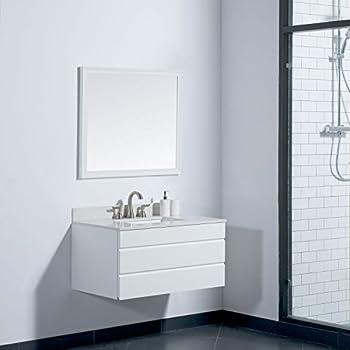 MAYKKE Dani 36 Inch Bathroom Vanity Set In Birch Wood White Finish, Single  Wall Mounted White Bathroom Vanity With Top And Backsplash In White Quartz  And ...