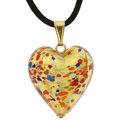 GlassOfVenice Murano Glass Heart Pendant - Multicolor Confetti ()