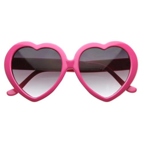 zeroUV - Large Oversized Womens Heart Shaped Sunglasses Cute Love Fashion Eyewear (Hot - Shaped Sunglasses Pink Heart