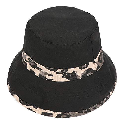 Fashion Lady Summer Travel Bohemian Beach Hats Leopard Basin Caps Women's Sun Hat,Black,US]()