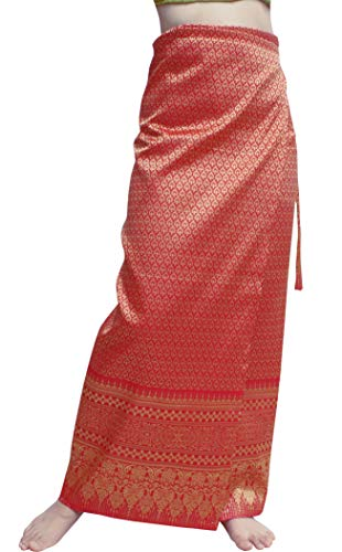 RaanPahMuang Brand Full Star Line Motif Thailand Silk Wrap Skirt Thai Formal Sarong, Medium, Venetian Red