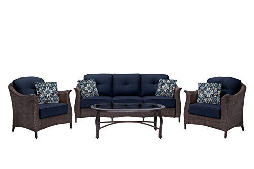 Hanover Outdoor Furniture Gramercy 4-Piece Wicker Patio Seating Set, Navy Blue (4 Piece Wicker)