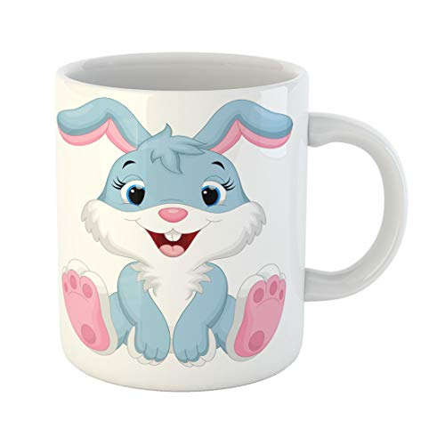 Semtomn Funny Coffee Mug Pink Bunny Cute Rabbit Cartoon Animal Face Clipart Kids 11 Oz Ceramic Coffee Mugs Tea Cup Best Gift Or Souvenir -