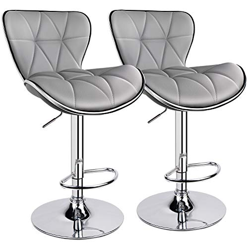 Leopard Shell Back Adjustable Swivel Bar Stools, PU Leather Padded with Back, Set of 2 (Light Grey) (Stools Milan Bar)