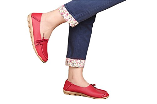 Colnsky Women Work Comfort Leather Loafer Flats Pumps Red38= US 7 New Style