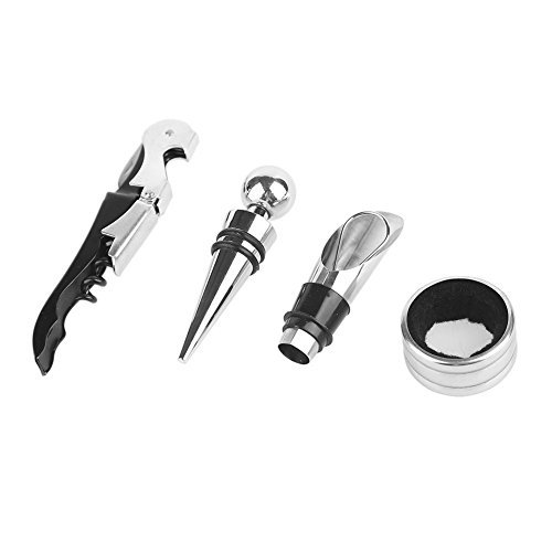 4PCS Set Wine Opener Kit, Bottle Accessory Kit Includes Stainless Steel Wine Corkscrew, Drop Ring, Wine Pourer, Wine Stopper Perfect Friend and Family Gift Review
