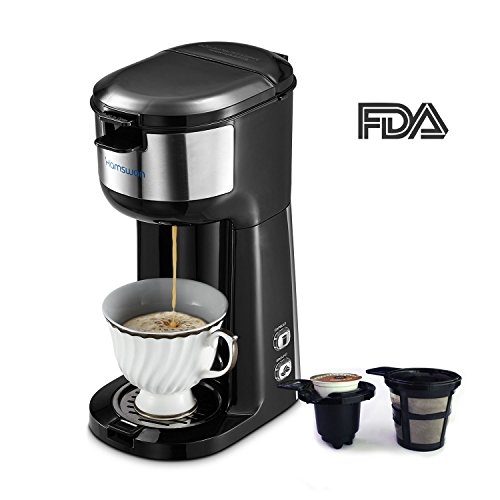 Coffee Maker, HAMSWAN K Cup Single Serve Coffee Maker Ground Coffee and Coffee Capsules 2 in 1 Automatic Coffee Machine (Black)