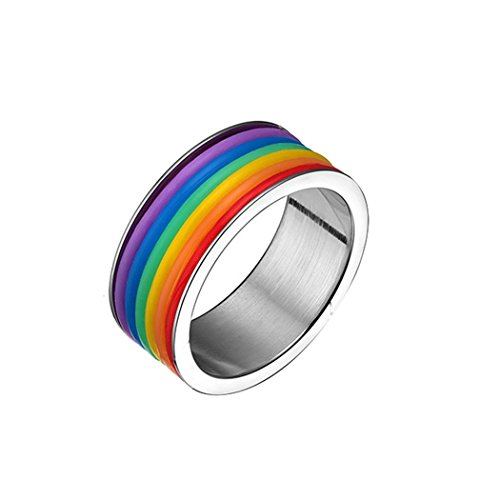 Time Pawnshop Unique Stainless Steel Rainbow Men Ring Size 13 US