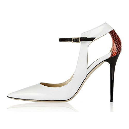 (Women's Two Tone Black Ankle Strap Stiletto Pumps Shoes (US 8.5, Type 2 (3.93in White))