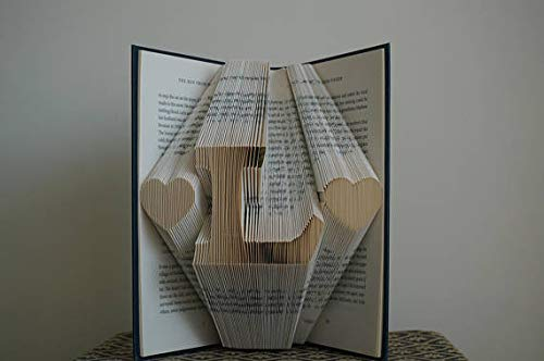 Personalized folded bookart with Heart & Initials Pattern Paper Anniversary Gift for Him or Her Date Unique Birthday Gift Wedding Decoration Present Personalized Gift Folded Book Art