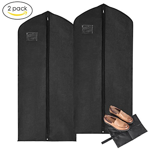 Garment Covers with A Shoe Bag, MaidMAX Breathable Suit Dress Covers with Clear Plastic Label Holders and Full-Length Zipper for Clothes, 54-Inch-High, 2-Pack