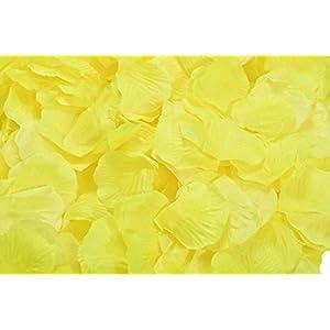 ocharzy 1000pcs Silk Rose Petals Wedding Flower Decoration (Yellow) 12