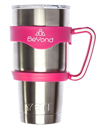 BeYond Hot Pink Handle for 30 oz Yeti Rambler Tumbler - Hotpink with White Anti-Slip Rubber Trim - Fits YETI RTIC Ozark Trail SIC and Other Cooler Cups - Gift-quality Box (Handle Only)
