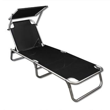 Alu Liege Sonnenliege Strandliege Gartenliege Liegestuhl Mit Sonnendach  Schwarz