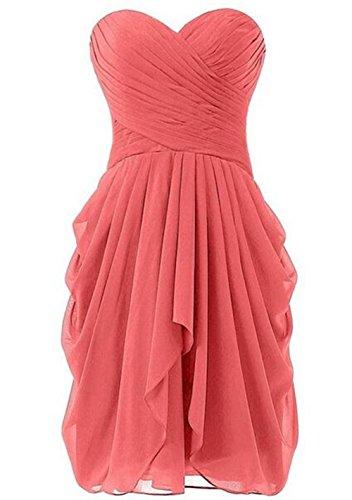 Women's Sweetheart Strapless A-line Short Chiffon Homecoming Dress Gowns Pink (Cute Halloween Dress)