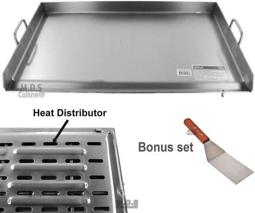 Griddle Stainless Steel Flat Top With reinforced brackets under griddle-Heat Distributor Heavy Duty Comal Plancha 32