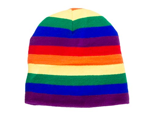 Rainbow Striped Beanie Knit Hat, Stocking Cap for Pride Parades & LGBTQ Marches (1 Hat - -
