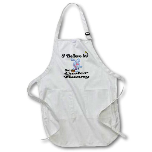 3dRose apr/_105135/_1 I Believe in Easter Bunny-Full Length Apron with Pockets 22 by 30-Inch White