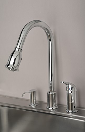 Builders Shoppe 1170CP 16'' Single Handle Pull-Down Kitchen Faucet With Soap Dispenser Chrome Finish by Builders Shoppe (Image #2)