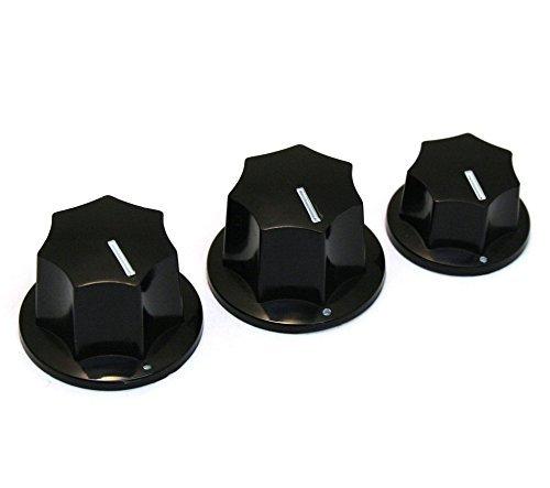 Jazz bass control knob set skirted black USA size fits CTS brand new set of 3 control knobs (KN-00001)