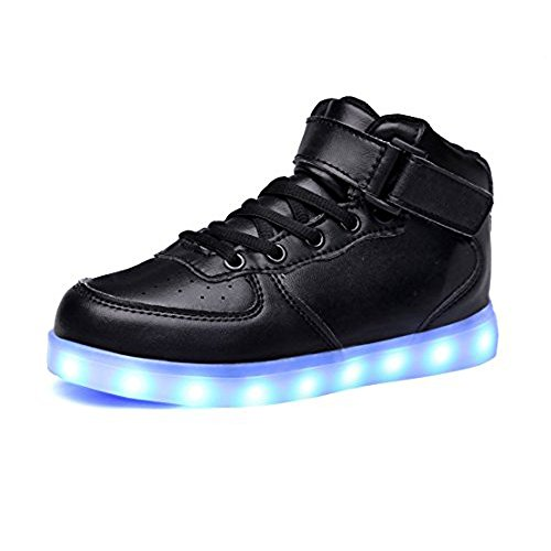 luckfugui Kids Christmas Toddler Boy Girl LED Lights UP Shoes 11 Colors High Top Flashing Sneakers Cool Light, Hiphop Shoes,Street Dance Shoes Black2