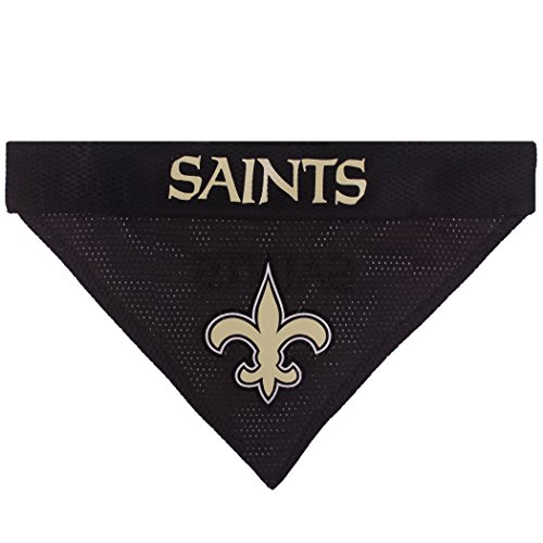 Image of Pets First NFL Dog Bandana - New Orleans Saints Reversible PET Bandana. 2 Sided Sports Bandana with a Premium Embroidery Team Logo, Large/X-Large. - 2 Sizes & 32 NFL Teams Available