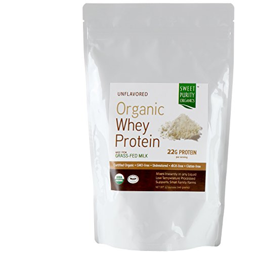 CERTIFIED ORGANIC - #1 Grass Fed Whey Protein Powder Best Tasting - Best Natural GMO Free, Undenatured, Gluten Free Concentrate (Not Isolate) - Great in Shakes for Weight Loss and Building Muscle