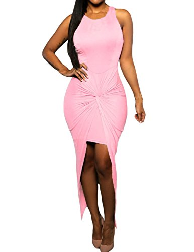 Sexy Womens Sleeveless Hig Low Knotted Slit Party Club Dress (S, Pink)