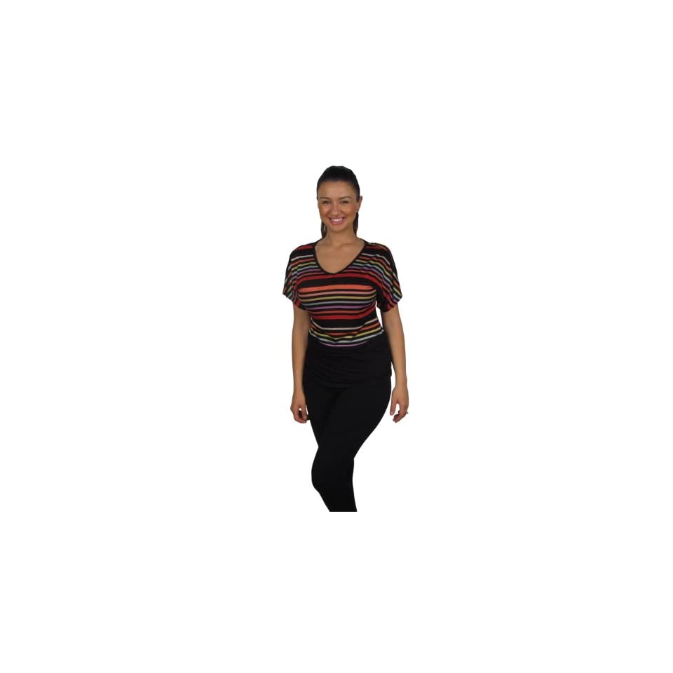 599fashion Women's Round Neck Short Sleeve Striped Top Blouses