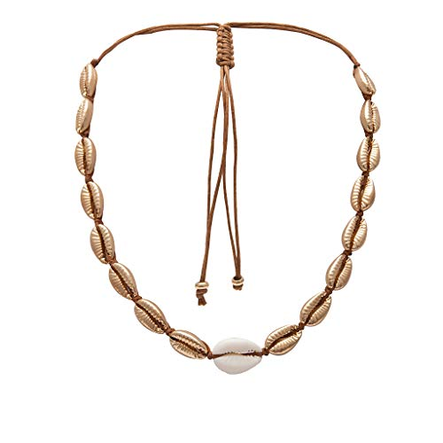 (Gbell  Fashion Jewelry for Women Vintage Bohemian Style Plated Metallic Gold Pearl Shell Clavicular Chain Handmade Simple Beach Necklaces Bridal Jewelry)