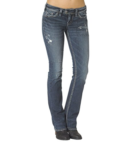 [Silver Jeans Women's Tuesday Patchwork Bootcut Jean, Indigo, 26x33] (7 Bootcut Low Rise Jeans)